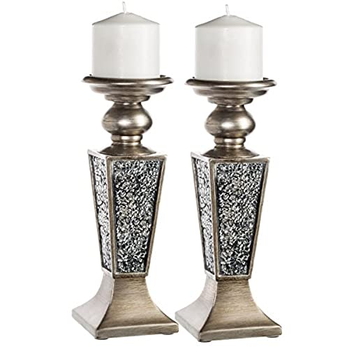 Delicieux Creative Scents Schonwerk Pillar Candle Holder Set Of 2  Crackled Mosaic  Design  Home Coffee Table Decor Decorations Centerpiece For Dining/Living  Room  ...