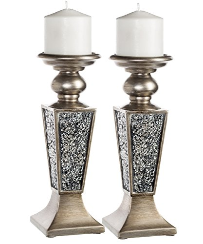 Creative Scents Schonwerk Pillar Candle Holder Set of 2- Crackled Mosaic Design- Home Coffee Table Decor Decorations Centerpiece for Dining/Living Room- Best Wedding Gift (Silver) (Decor Home Table)