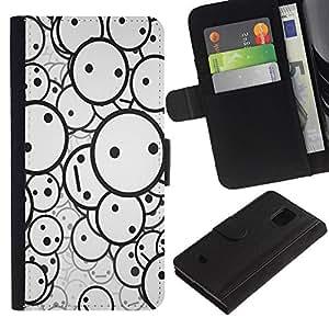 EJOY---Tirón de la caja Cartera de cuero con ranuras para tarjetas / Samsung Galaxy S5 Mini, SM-G800 / --Smiley Patrón