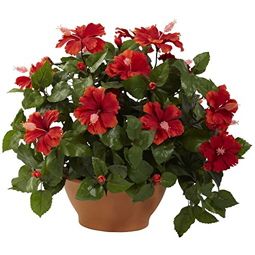 Nearly-Natural-Hibiscus-Silk-Flower-with-Clay-Planter