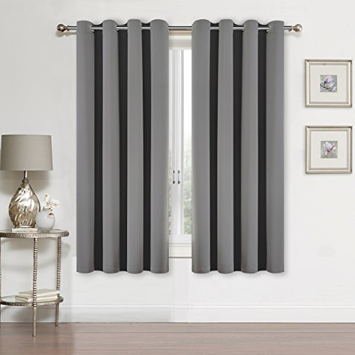 SUO AI TEXTILE Blackout Curtain Panels for bedroom-Window Treatment Thermal Insulated Solid Grommets Blackout Window Curtains for living room (2 Peices,each 52x63Inch,GREY)
