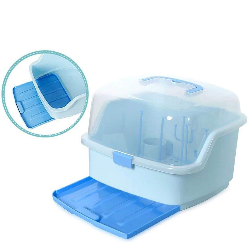 Baby Bottle Storage Organizer Multifunctional BPA Free Dust-proof Storage Box Dryer Rack Cutlery Storage Drying Rack With Cover 35x26x25 cm