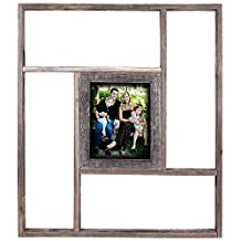 Rustic Reclaimed Barn Wood Shelf With Picture Frames - 8 by 10 Photo