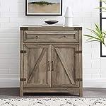 "30"" Farmhouse Barn Door Accent Cabinet - Grey Wash"