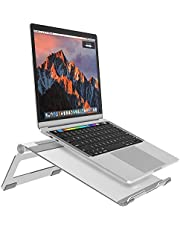 "NULAXY Foldable Aluminum Laptop Stand, Adjustable Laptop Cooing Stand Holder for Laptop, 11-17"" Notebook and Tablet Desktop Holder with Anti-Slip Silicone Pad, Silver"