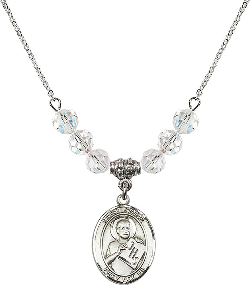 18-Inch Rhodium Plated Necklace with 4mm Crystal Birthstone Beads and Sterling Silver Seven Gifts Charm.