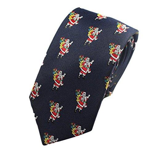 Z-P Mens Santa Claus With Gifts Pattern Elegant Necktie Jacquard Skinny Microfiber Tie (Santa Claus Suit Rental)