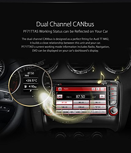 XTRONS 7 Inch HD Digital Touch Screen Car Stereo In-Dash DVD Player with GPS Navigation Dual Channel CANbus Screen Mirroring Function for Audi TT MK2 Kudos Map Card Included by XTRONS (Image #4)