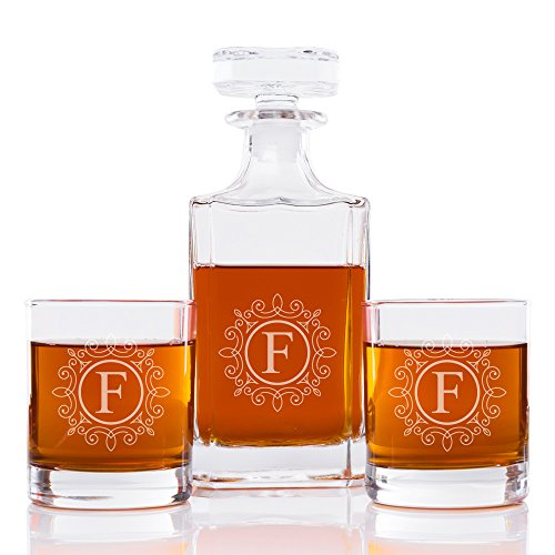Ornate Monogram 26 oz. Classic Square Decanter and Rocks Glasses (Set of 5), Letter F by Abby Smith