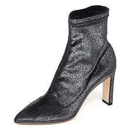 JIMMY CHOO E6574 Tronchetto Donna Dark Grey Stretch Metallic Velvet Boot Woman