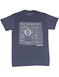 Proton Pack Schematic Navy Heather Adult T-Shirt
