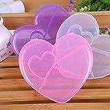 VT BigHome 5 Grid Pink Purple White Heart Shaped Pill Box Case Container Plastic Medicine Case Holder Z3