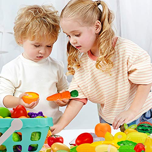 JITEBTI 77 Piece Play Food Toys for Kids Kitchen, Pretend Fruit and Vegetable Accessories in Shopping Storage Baskets, Plastic Mini Dishes and Knives,Learning & Educational Game Toy for Kids Age 3+