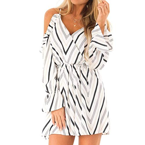 URIBAKE 2019 Women's Twilled Mini Dress Strap Off The Shoulder V-Neck Long Sleeve Ruffle Dress White ()