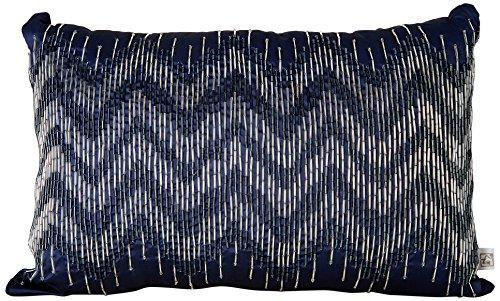 Bombay Dyeing Chevron Textured Polyester Cushion – 18″x12, Navy
