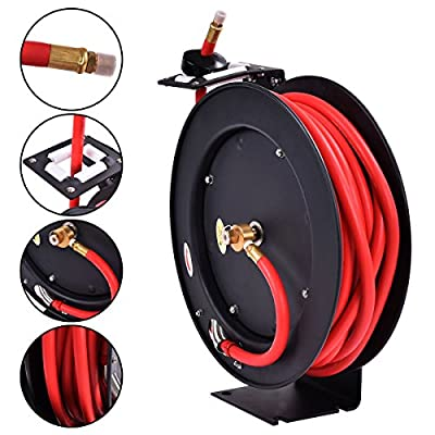 "3/8"" x 50' Auto Rewind Retractable Air Hose Reel Compressor 300 PSI New"