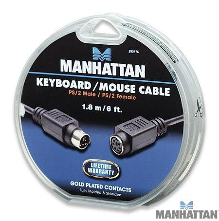 Manhattan 6 ft. PS/2 Keyboard / Mouse Extension Cable. Mini-Din-6 Male to Female by Manhattan Products