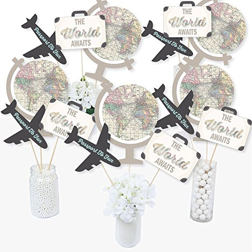 World Awaits - Travel Themed Party Centerpiece Sticks