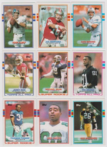 1989 Topps NFL Football Complete Mint 396 Card Hand Collated Set. This Set Is Packed with Stars and Hall of Famers Including Dan Marino, Joe Montana, Steve Young, Jerry Rice, - Jim Steves And