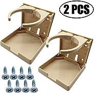 TIHOOD 2PCS Adjustable Folding Drink Holder with Screws/Adjustable Cup Holder for Marine/Boat/Caravan/Car