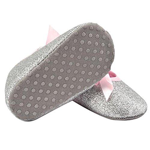 Highdas Zapatos Bebé Brillo Flash Arco La Zapatilla Deporte Fondo Blando Antideslizante Suavemente único Niño Plata