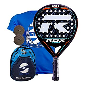 Rox RX1 Pala de pádel, Unisex Adulto, Negro/Azul/Naranja, 38 mm