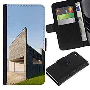 Leather Case Wallet Flip Card Pouch Soft Holder for Apple Iphone 4 / 4S / CECELL Phone case / / Architecture Modern House /
