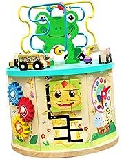 kioski Cubo de Actividad de Madera, Juguete Multifuncional de Siete Lados, Centro de Actividades para niños pequeños, Juguetes Multiusos 7 en 1