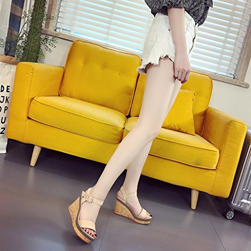 con A Eleganti Elecenty Pesce Sexy Sandali E Sandali Stelle Tacco Donna Beige con Bocca Alto Tacco Pendenza scarpa con Scarpe di Cinque Plateau Alto nUUxaP