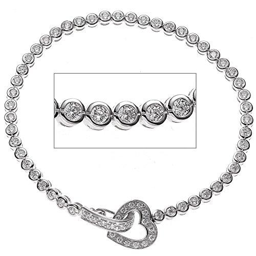 JOBO bracelet en argent sterling 925 rhodié avec oxyde de zirconium-blanc - 19 cm