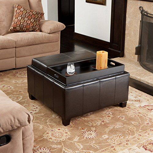 Plymouth Espresso Leather Tray Top Storage Ottoman by Great Deal Furniture