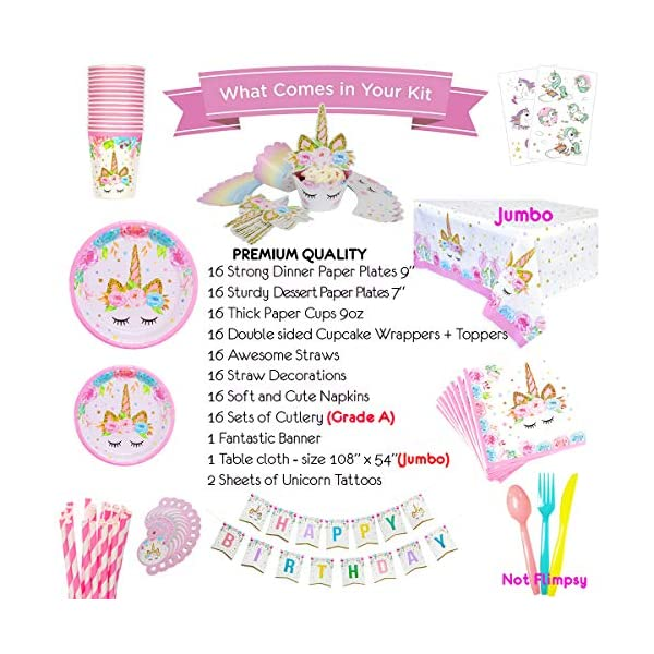 ecoZen Lifestyle Ultimate Unicorn Party Supplies and Plates for Girl Birthday | Best Value Unicorn Party Decorations Set… 4