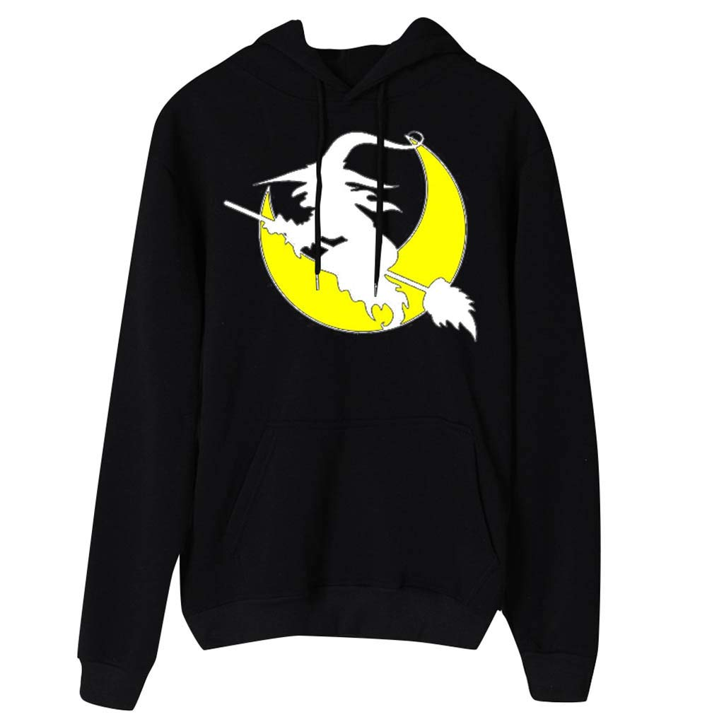 Women's Halloween Witch Moon Pattern Print Long Sleeve Hooded Sweatshirts Casual Pullover Tops (Black,XL) by TozuoyouZ