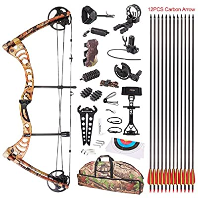 "Leader Accessories Compound Bow 30-55lbs 19"" - 29"" Archery Hunting Equipment with Max Speed 296fps, right handed"