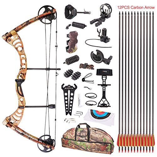 Leader Accessories Compound Bow 30-55lbs Archery Hunting Equipment with Max Speed 296fps (Autumn Camo. with Full Accessories)