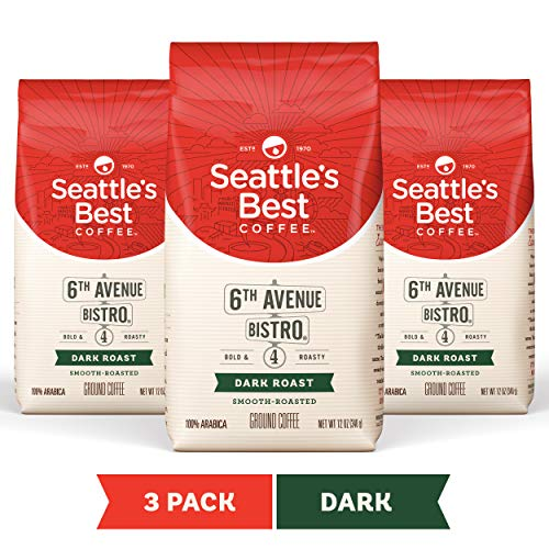 Seattle's Best Coffee 6th Avenue Bistro Dark Roast Ground Coffee 3 Pack, Three 12-oz. Bags