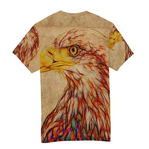 Ras Pygargue T Vintage Blanche À Homme shirt Du Alaza Tête Courtes Décontracté Cou Multicolore Manches wUPT8q