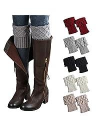 Women Boots Socks Short Crochet Leg Warmer Winter Cuff Knit Cable