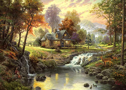 - $50-$2000 Handmade Paintings by College Teachers - Mountain Retreat Thomas Kinkade Trees - Decorative Oil Paintings on Canvas for Wall Art Decor -Size02