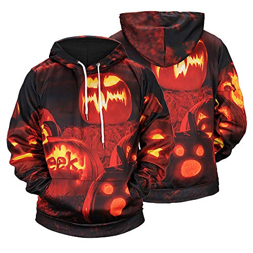 Halloween Mens Tops KIKOY Casual Blouse Scary Pumpkin Print Prom Long Sleeve Hoodie -