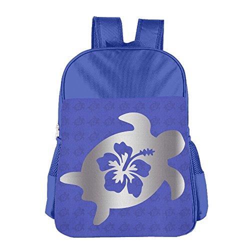 Hibiscus Honu Hawaiian Sea Turtle Platinum Logo Kids School Backpack Bag RoyalBlue