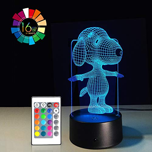 Cartoon 3D Illusion LED Night Light 7 Colors Gradual Changing Touch Switch USB Table Lamp Remote Control Nursery Lights for Gift Home Decorations (Snoopy)(1PC) -