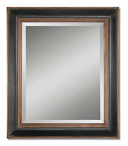 36' Black Vanity - Solid Wood Large Black Vanity Mirror Gold Accents