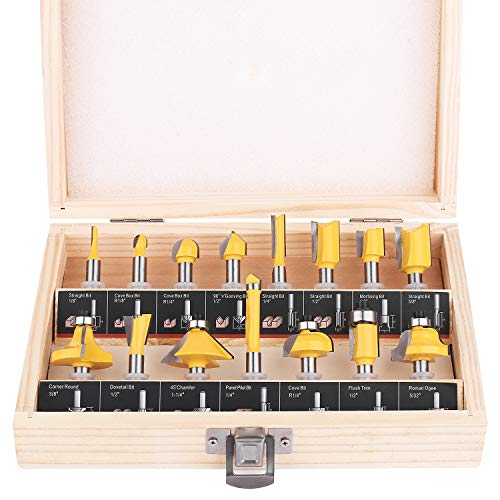 KOWOOD Router Bit Set of 15 Pieces 1/4 Inch Shank - for Commercial Users and Beginners