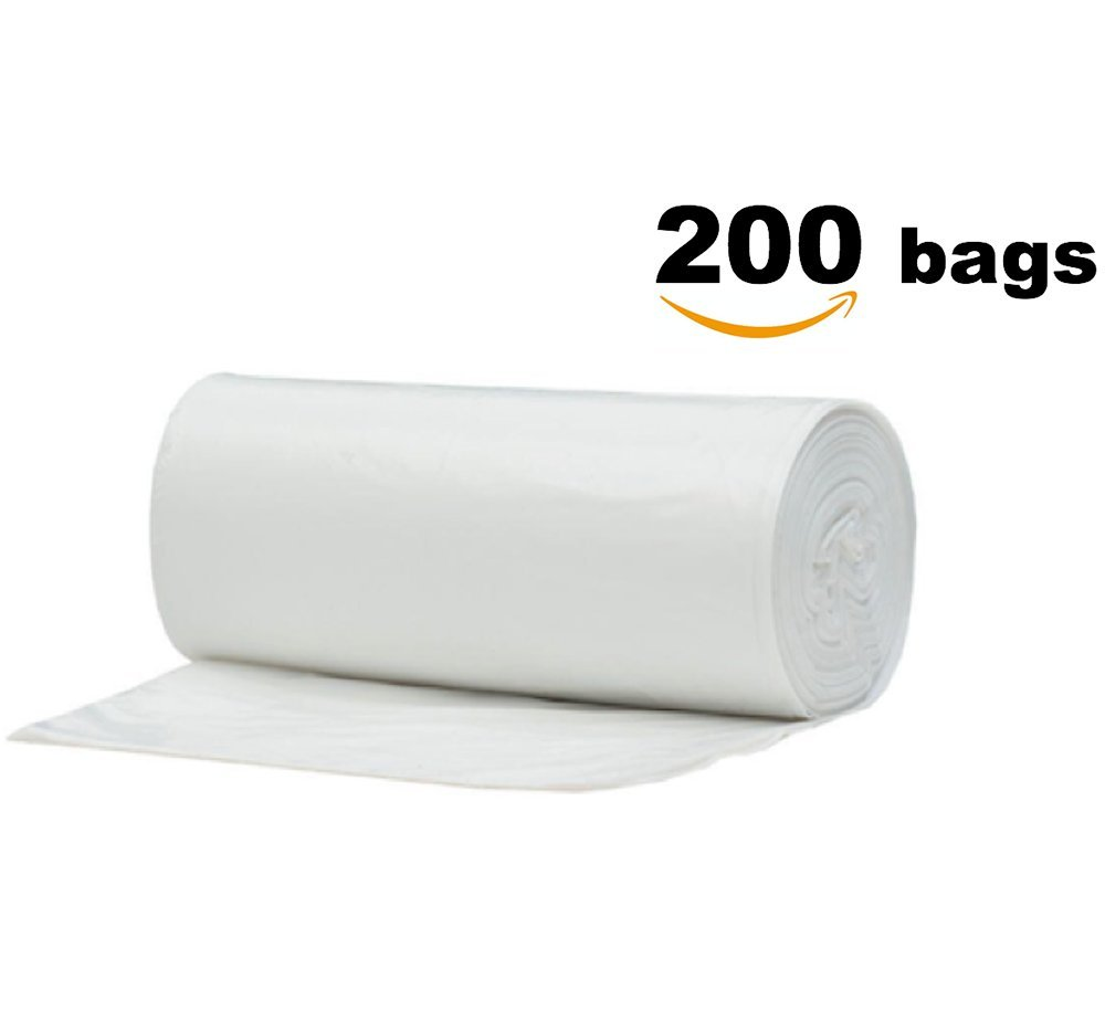 3 Gallon Clear Small Light Duty Garbage Trash Bags, 200 Count, 4 Rolls