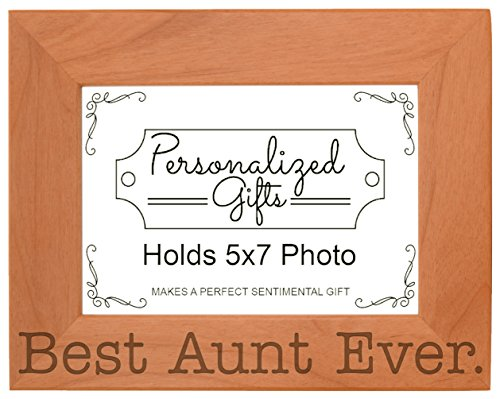 ThisWear Gift Aunt Best Aunt Ever Mothers Day Natural Wood Engraved 5x7 Landscape Picture Frame Wood