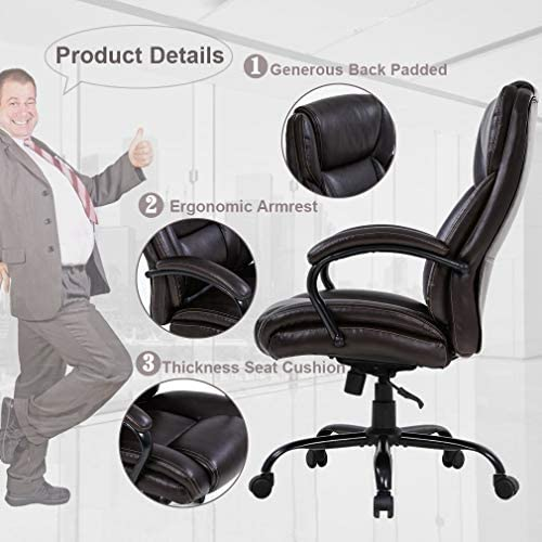 Big and Tall Office Chair 500lbs Wide Seat Ergonomic Desk Chair Task High Back Executive Chair Rolling Swivel PU Computer Chair with Lumbar Support Armrest Adjustable Chair for Heavy People, Brown 51d94mDFZOL