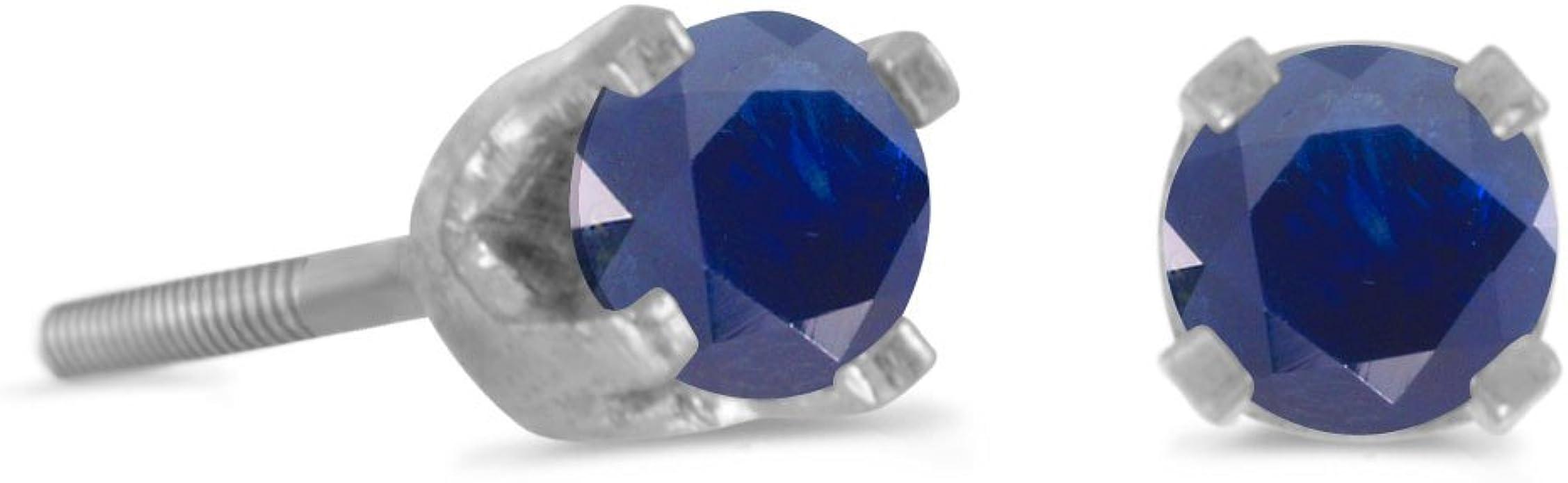 6mm HEART BLUE SAPPHIRE SCREW BACK EARRINGS 14K W GOLD BABY-ADULT /& CHILD 3mm