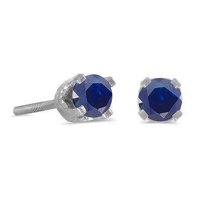 28c482aa2baea 14k Petite White Gold Round Sapphire Children's Screw-back Stud Earrings