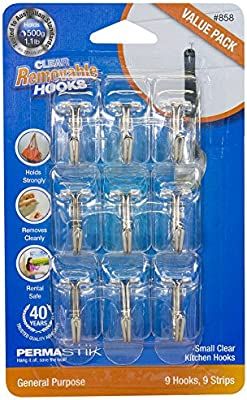 Clear PermaStik Small Wire Kitchen Hooks 9 Count Holds 1.1 Pounds Each